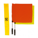 Set of 1 yellow+ 1 red linesman flags - with yellow bag