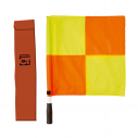 Set of 2 checkered yellow/red linesman flags - with red bag