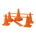 Set of 10 x 40 cm cones + 5 x 1 m poles