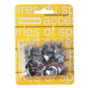 Blister card of 12 aluminium soccer studs - 8 x 13mm + 4 x 16mm