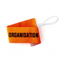 "Armband ""ORGANISATION"" with elastic and velcro - fluo orange"