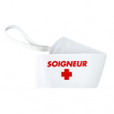 "Armband ""SOIGNEUR"" with elastic and velcro - white"