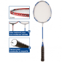 Steel/alu badminton racket without T - 66 cm - 95 gr