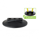 Rubber base with 3 holes suitable for 25 mm poles - black