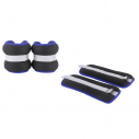 Wrist band -1 kg x 2 - Black with blue piping