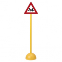 "Traffic sign - triangle - ""Ecole"" - with pole and base"