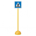 "Traffic sign - triangle - ""Passage pieton"" - with pole and base"