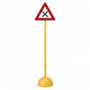 "Traffic sign - triangle - ""Intersection"" - with pole and base"