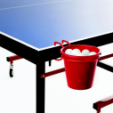 Metallic TT balls rack + PVC bucket - Red